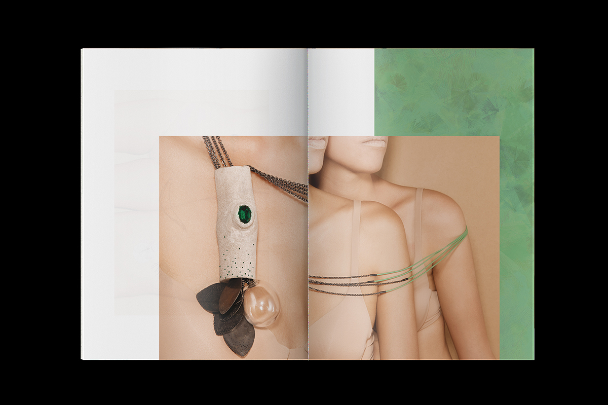 Graphisme Geneve graphic design graphique direction artistique layout mise en page édition  look-book pia farrugia swiss federal design awards 2015 prix design bijou contemporain contemporary jewelry landscape paysage