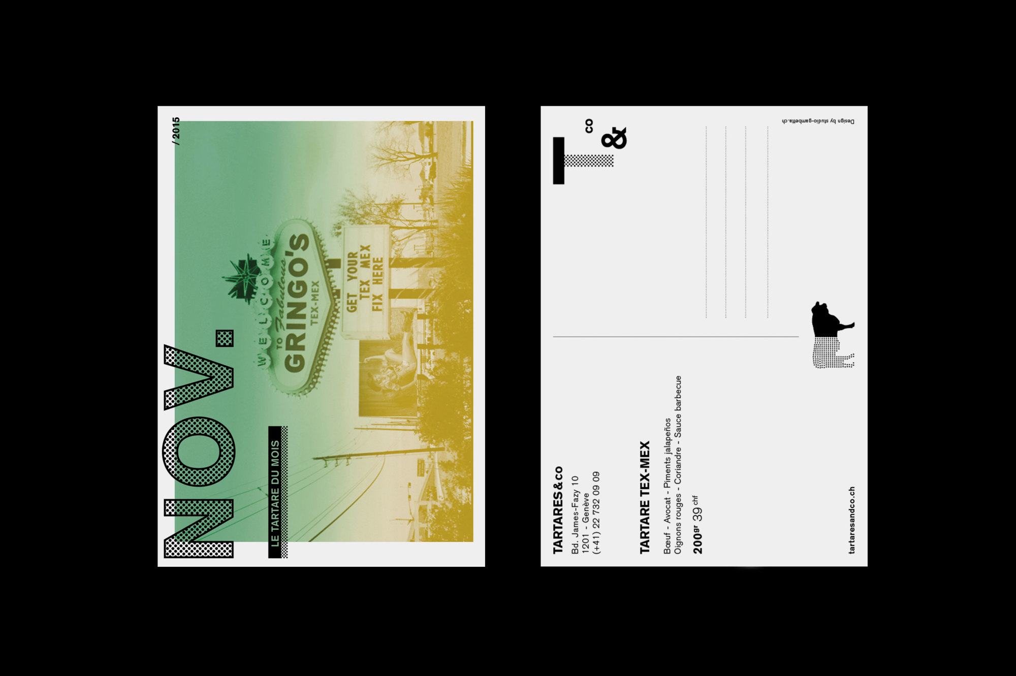 Graphisme Geneve graphic design graphique direction artistique tartares & co bar restaurant grand prix 2015 carte postale