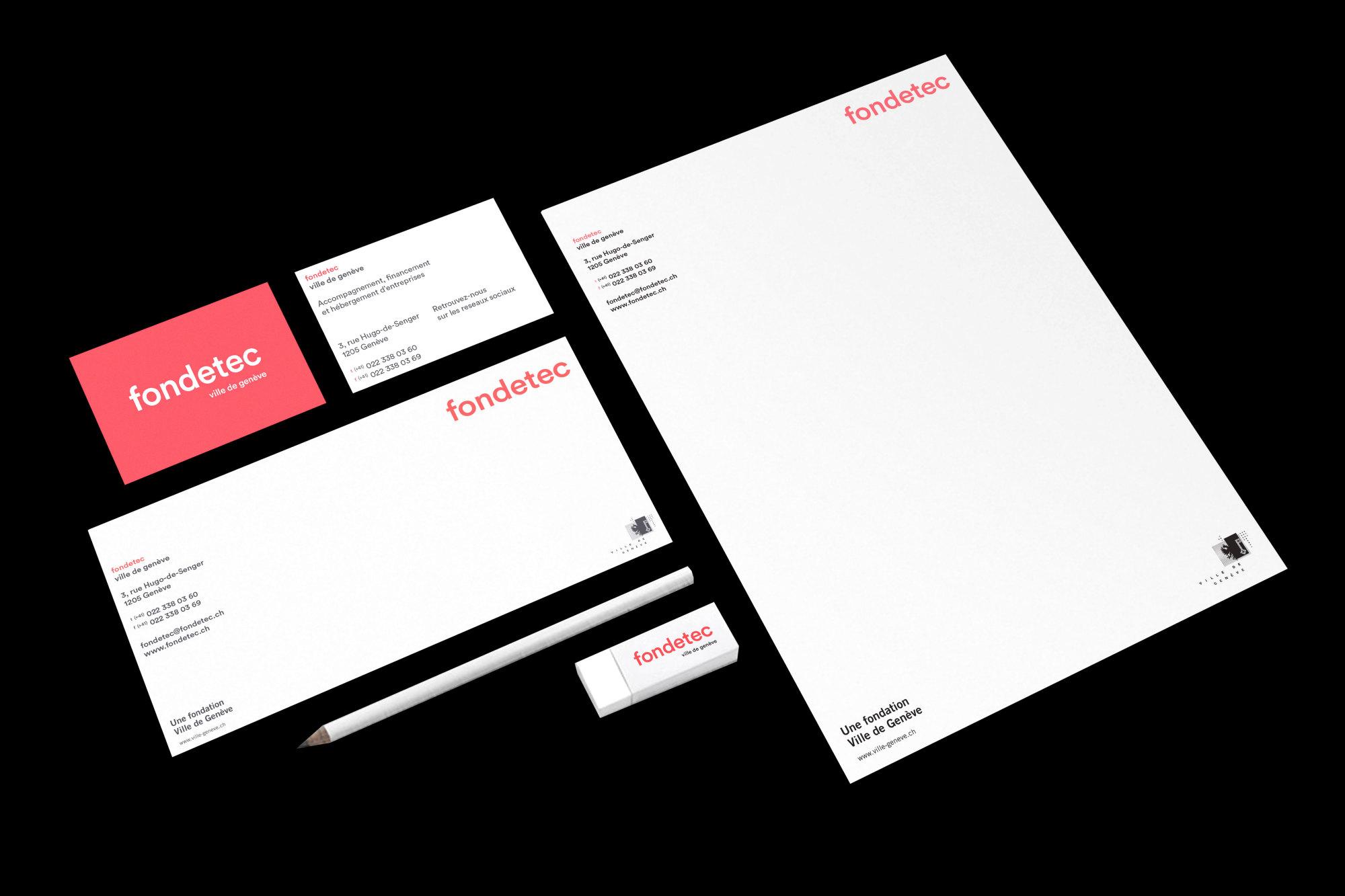 Graphisme Geneve graphic design graphique direction artistique logo identité visuelle identity branding brand fondetec fondation ville de geneve financement  papeterie