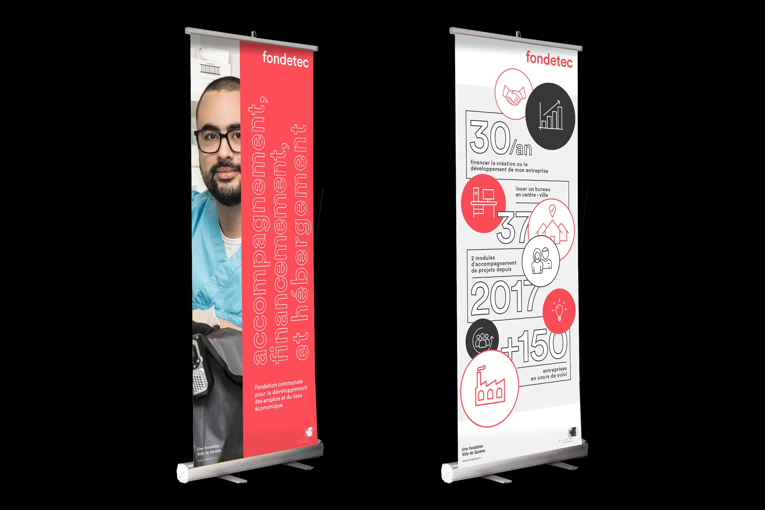 Graphisme Geneve graphic design graphique direction artistique logo identité visuelle identity branding brand fondetec fondation ville de geneve financement rollup  bannière