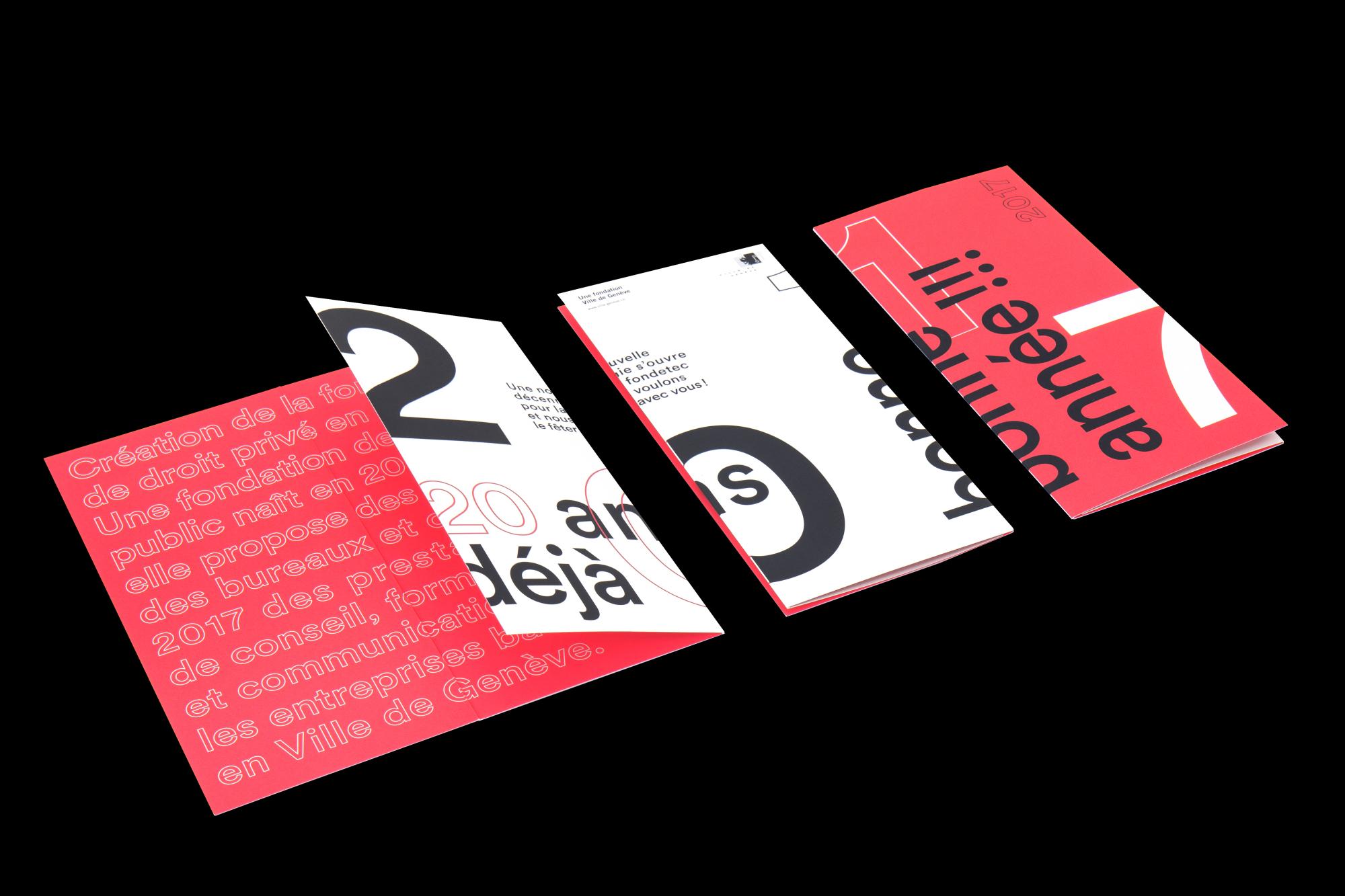 Graphisme Geneve graphic design graphique direction artistique logo identité visuelle identity branding brand fondetec fondation ville de geneve financement  carte de voeux