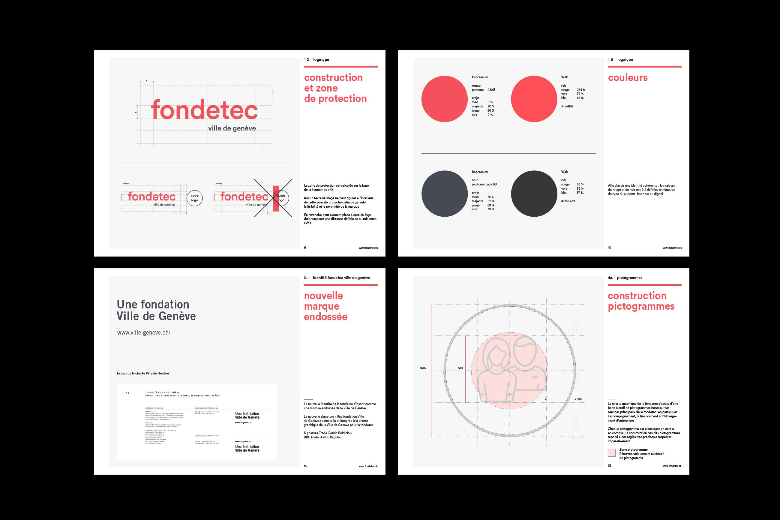 Graphisme Geneve graphic design graphique direction artistique logo identité visuelle identity branding brand fondetec fondation ville de geneve financement  charte graphique
