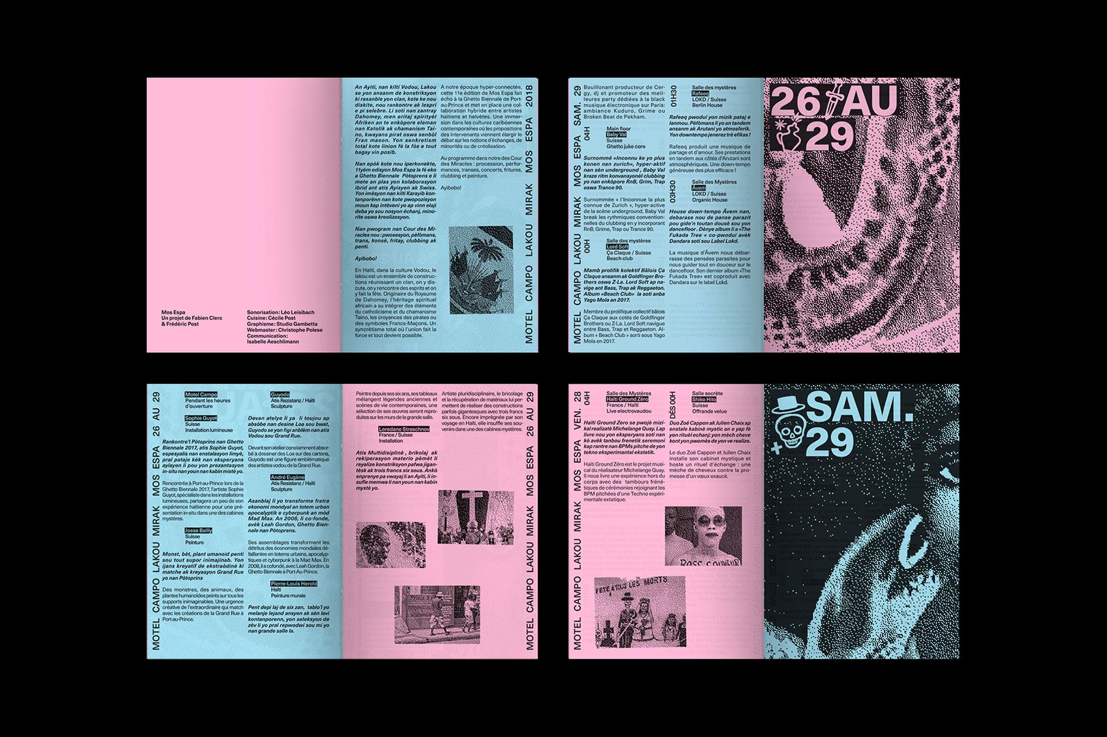 Graphisme graphic design graphique  affiche poster swissposter culture culturel promotion festival musique motel campo mos espa 2018 vaudou voodoo haiti brochure programme