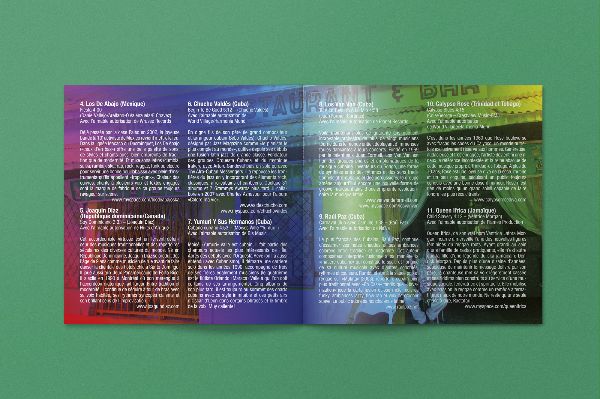 Graphisme Geneve graphic design graphique direction artistique paleo festival village du monde caraibes 2011 illustration merchandising  pochette cd cover layout