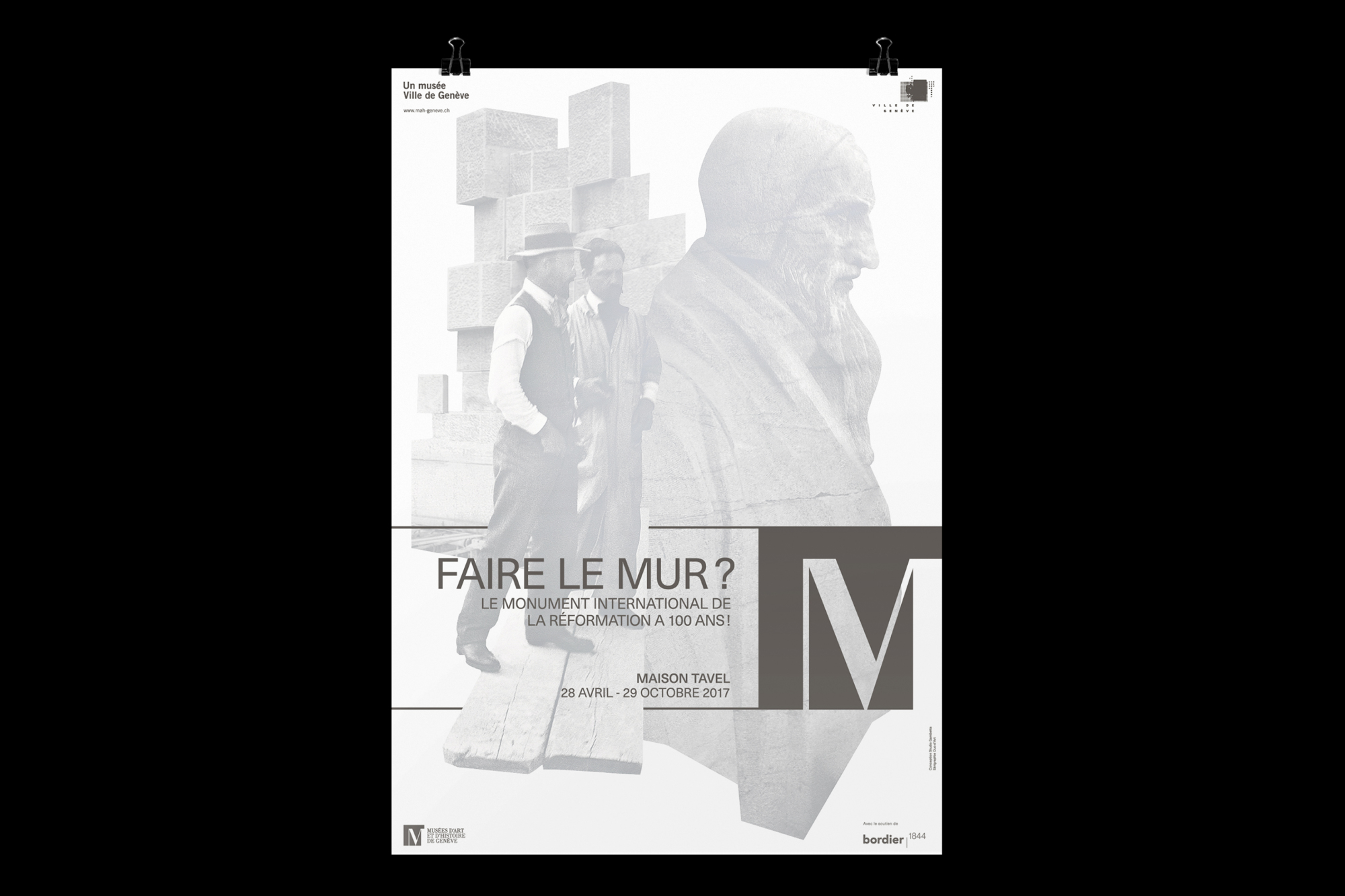 Graphisme Geneve graphic design graphique direction artistique affiche poster swissposter culture culturel promotion mah maison tavel Faire le mur? exposition monument international de la reformation reformateurs 2017 serigraphie