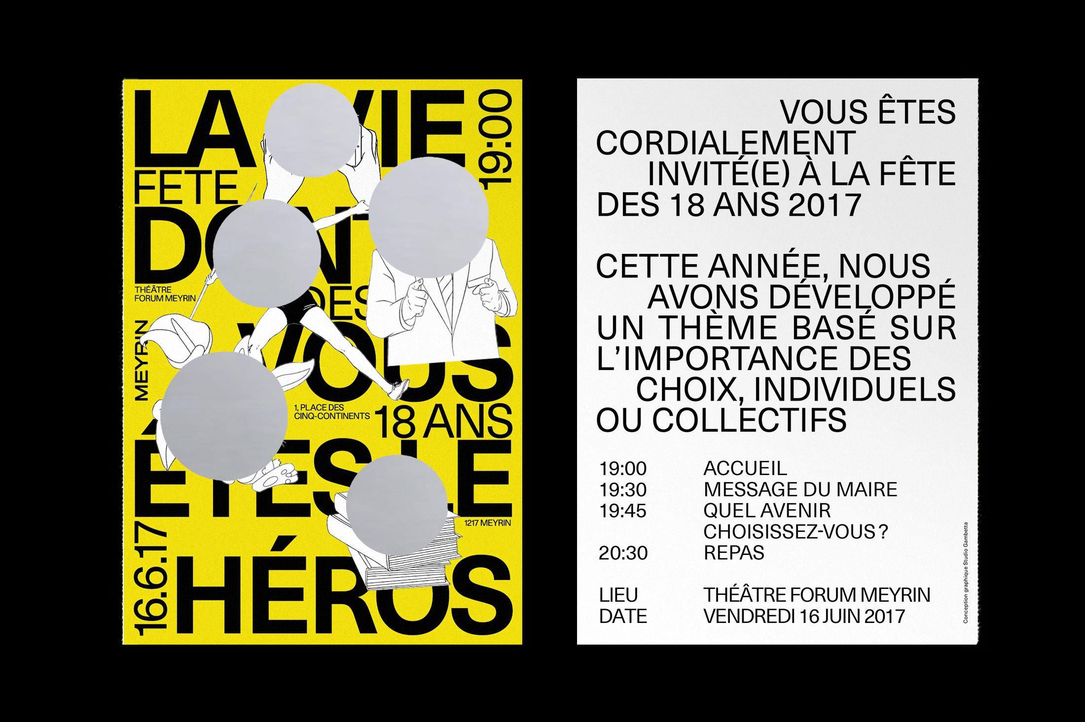 Graphisme Geneve graphic design graphique direction artistique affiche poster swissposter culture culturel promotion  ville de meyrin carton d'invitation fête 18 ans