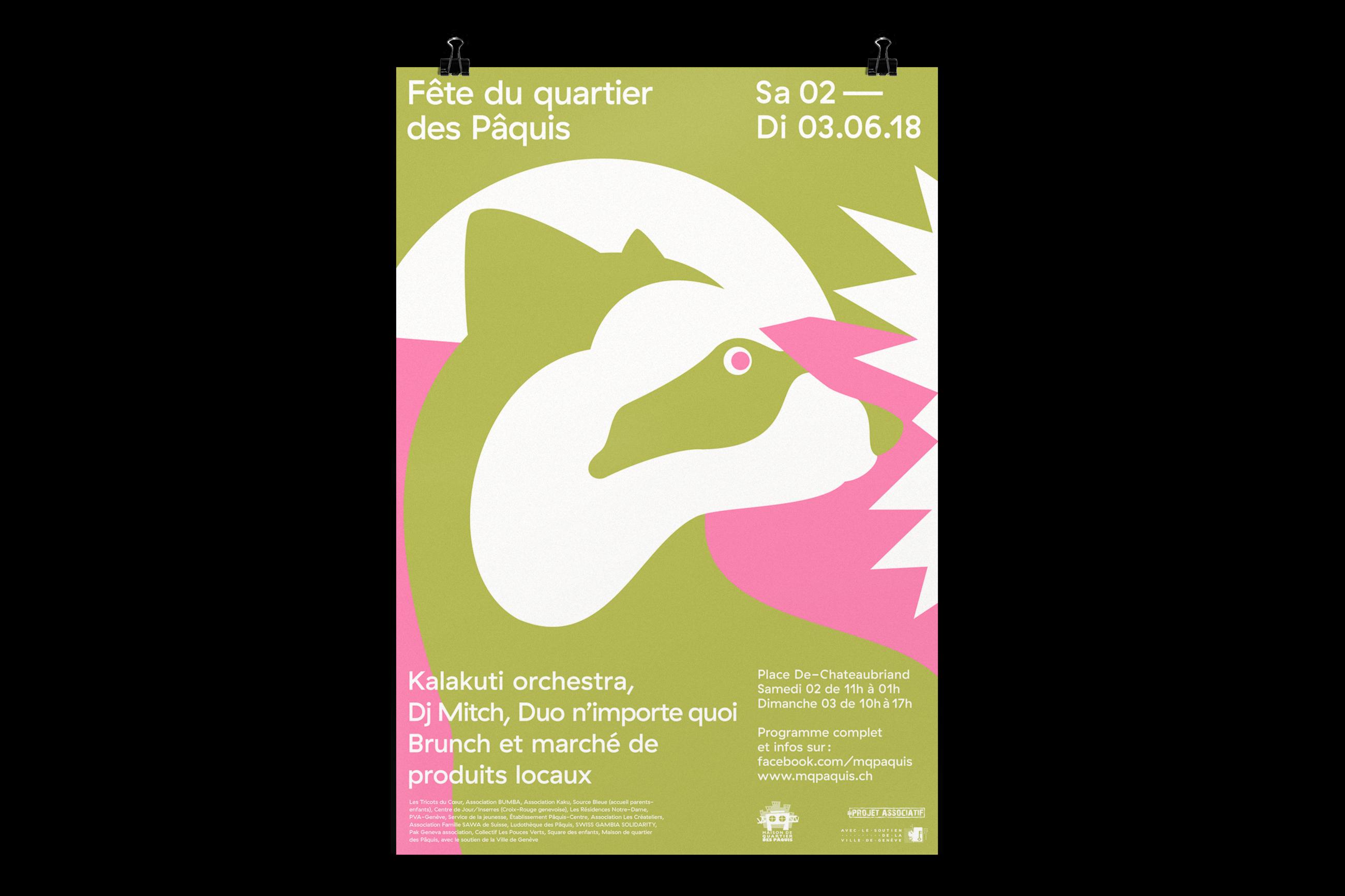 Graphisme graphic design graphique affiche poster swissposter culture culturel promotion fête du quartier des paquis