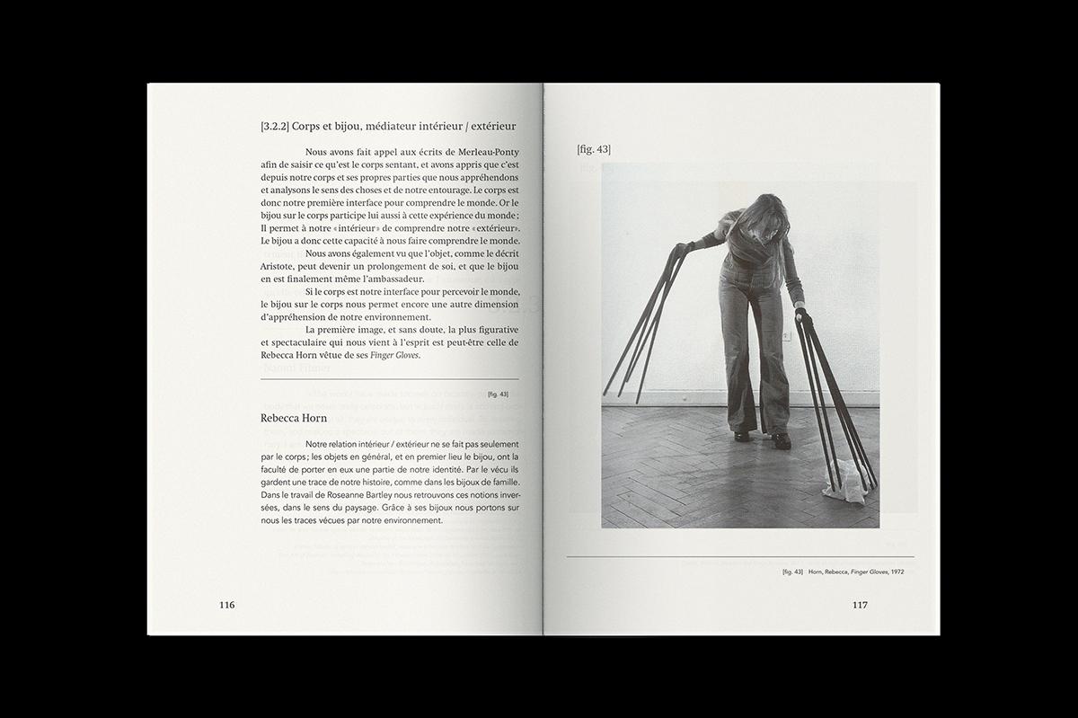 Graphisme Geneve graphic design graphique direction artistique layout mise en page édition  livre book these recherche pia farrugia design bijou contemporain contemporary jewelry landscape paysage