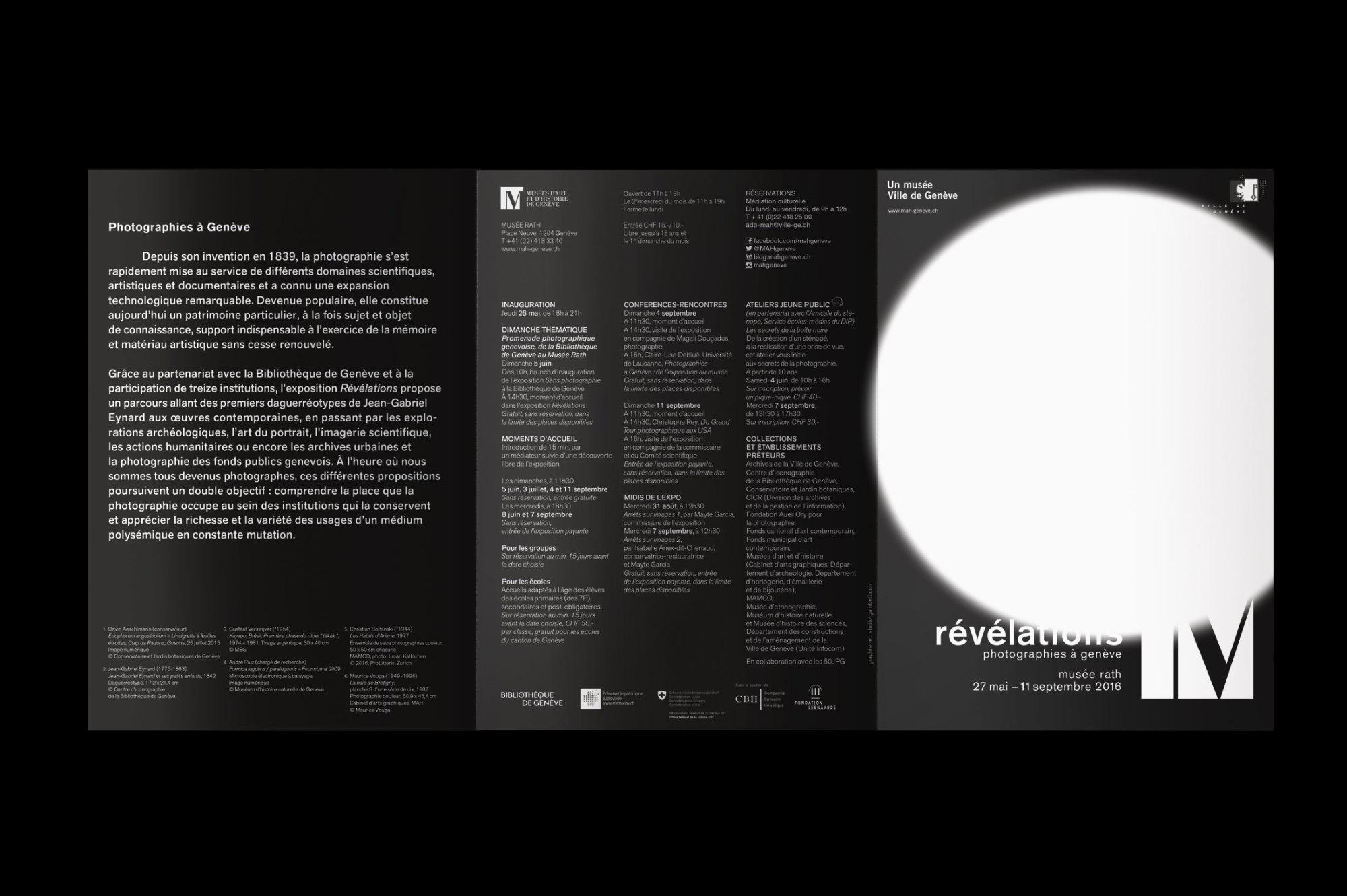 Graphisme Geneve graphic design graphique direction artistique mah exposition musee d'ethnographie 2016 musee rath revelations photographies serigraphie  carton d'invitation