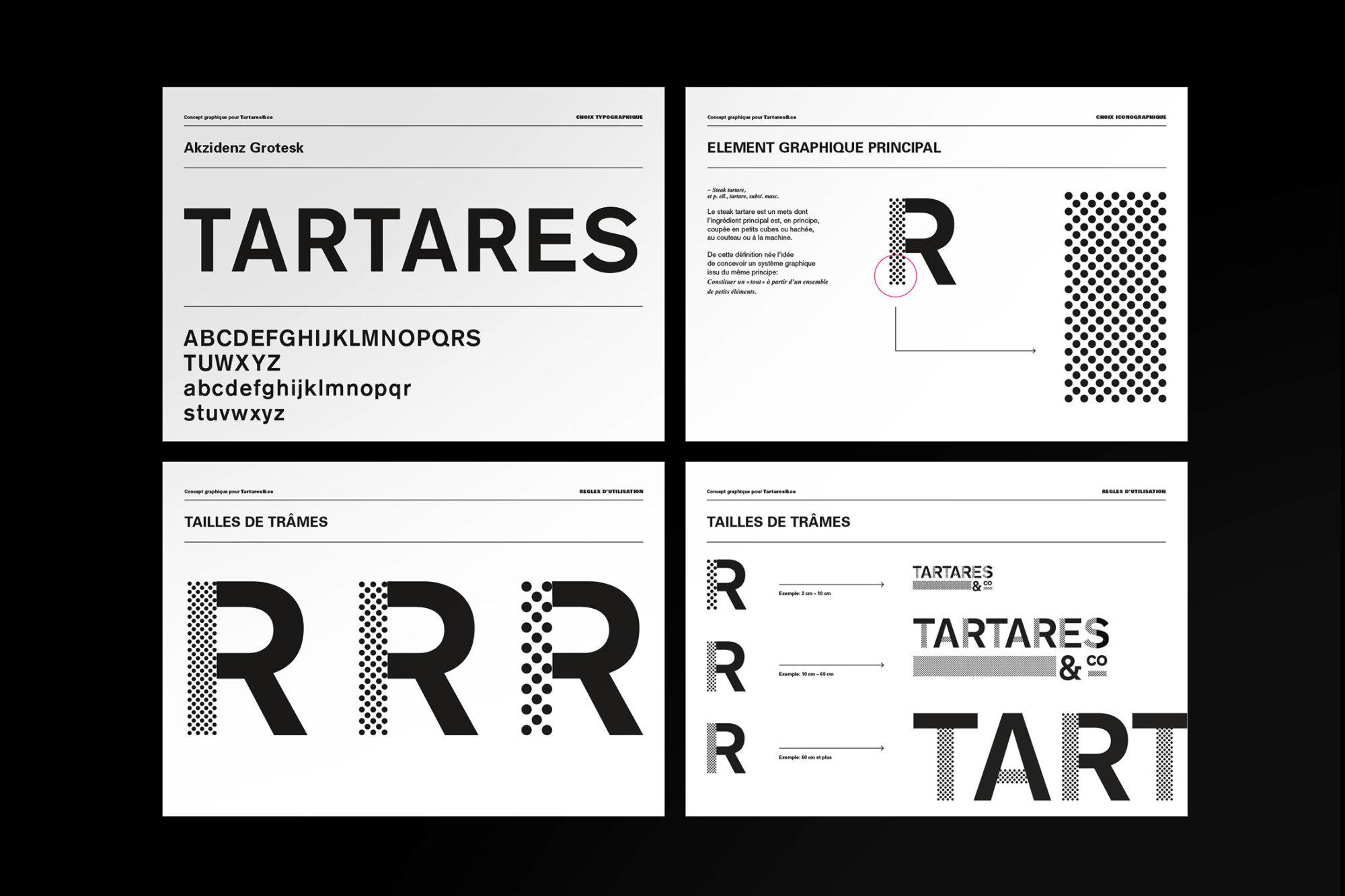Graphisme Geneve graphic design graphique direction artistique logo identité visuelle identity branding brand  tartares & co bar restaurant grand prix 2015  layout charte graphique