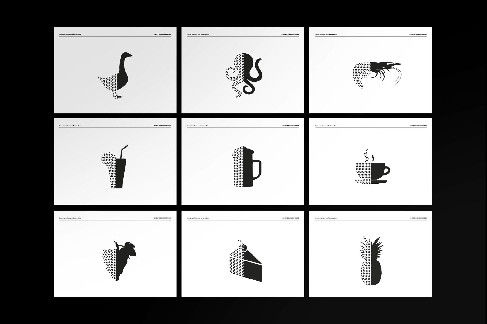 Graphisme Geneve graphic design graphique direction artistique logo identité visuelle identity branding brand  tartares & co bar restaurant grand prix 2015  layout charte graphique pictogrammes icons
