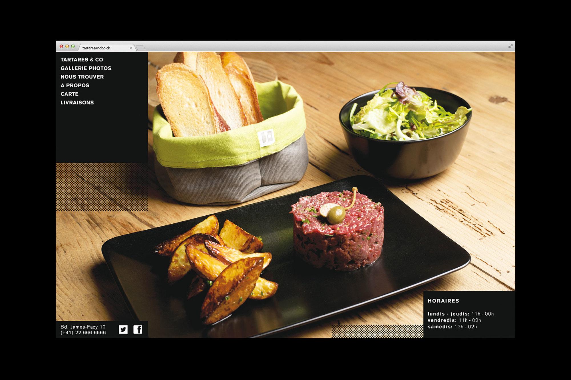 Graphisme Geneve graphic design graphique direction artistique logo identité visuelle identity branding brand  tartares & co bar restaurant grand prix 2015  web